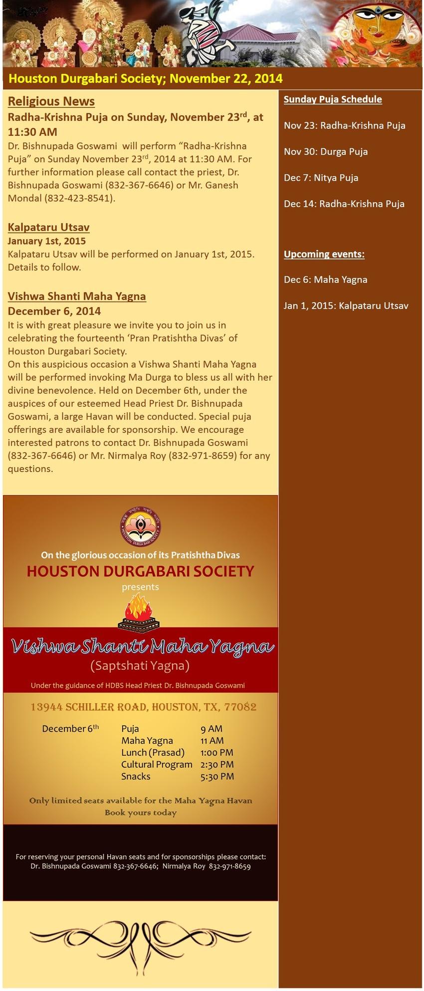 Maha Yagna E-News -Nov 22